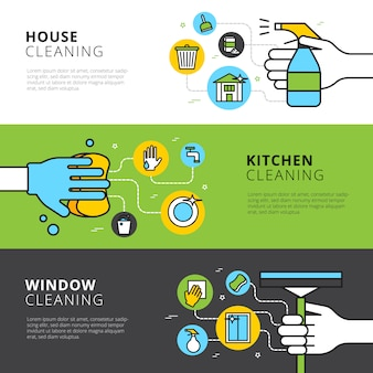 Cleaning flat banners with hands detergents and tools for house kitchen and window cleaning