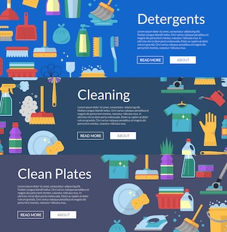 Cleaning flat icons banner