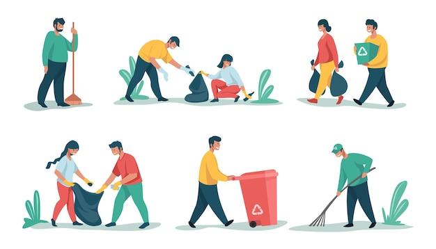 쓰레기 청소. 만화 캐릭터는 쓰레기와 쓰레기를 분류하고 재활용하며 쓰레기를 수집합니다. 쓰레기를 줍는 벡터 사람들, 분리 및 재활용을 위해 야외에서 청소하는 자연