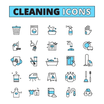 Cleaning hand drawn icon set of household appliances cleaners and detergents isolated vector illustration