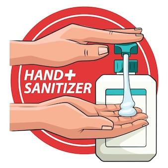 Очистка рук с иллюстрацией handsanitizer