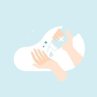 コロナウイルスを防ぐために消毒ジェルで手を洗う