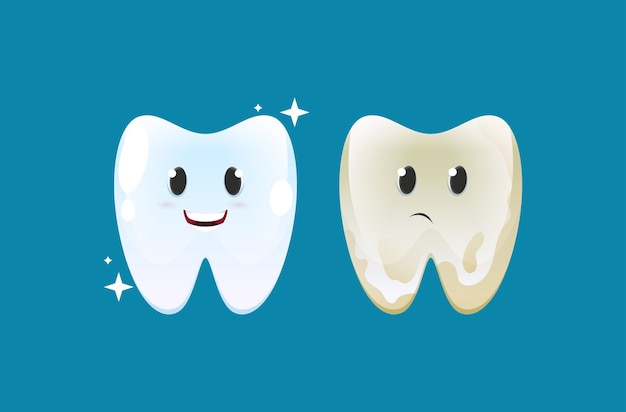 Cleaning and healthy with dirty and tooth with dental plaque.