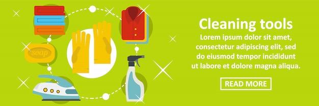 Cleaning home tools banner template horizontal concept