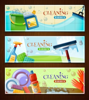 Cleaning horizontal banners set
