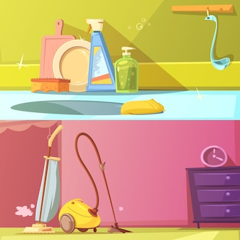Cleaning horizontal cartoon banners set