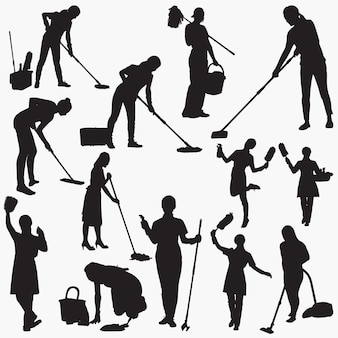 Cleaning house silhouettes