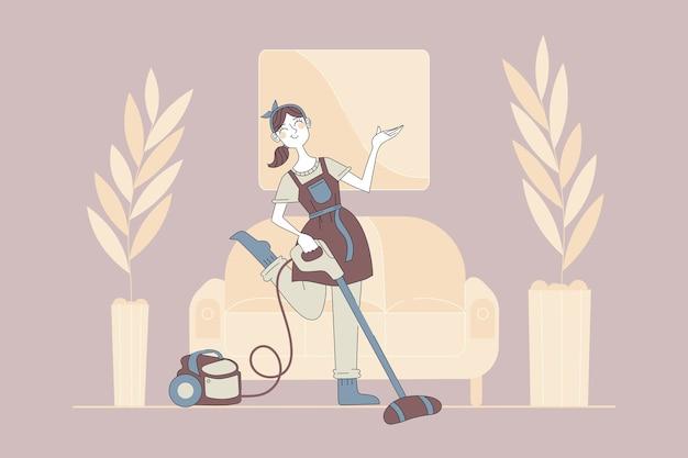 Уборка, уборка, концепция досуга. молодая счастливая улыбающаяся женщина-домработница в фартуке мультипликационный персонаж делает работу по дому с пылесосом, вытирая пыль дома. иллюстрация домашних дел.