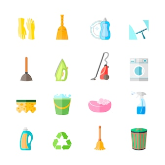 Cleaning housework equipment icons set of gloves spray iron brush isolated vector illustration