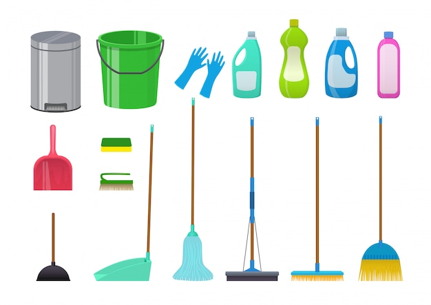 Cleaning icons set. illustration isolated on white.