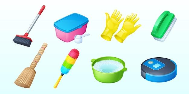Icone di pulizia con scopa e aspirapolvere