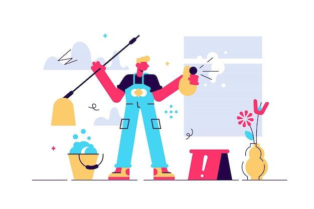 クリーニングイラスト。平らな小さなほこりや汚れを洗う人のコンセプト。国内世帯のための専門の衛生サービス。洗濯、床、キッチン、トイレ用の衛生化学製品。