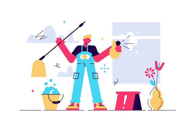 Cleaning illustration. flat tiny dust and dirt washing persons concept. professional hygiene service for domestic households. sanitary chemical products for laundry, floor, kitchen and toilet.