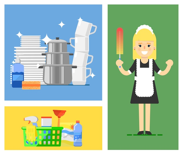 Cleaning illustration set