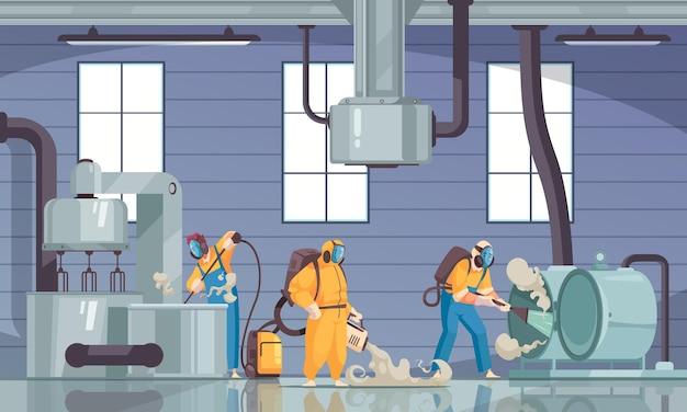 세제 화학 물질 및 공장 기계 장치를 갖춘 전문 세척제 그룹으로 산업 구성 청소