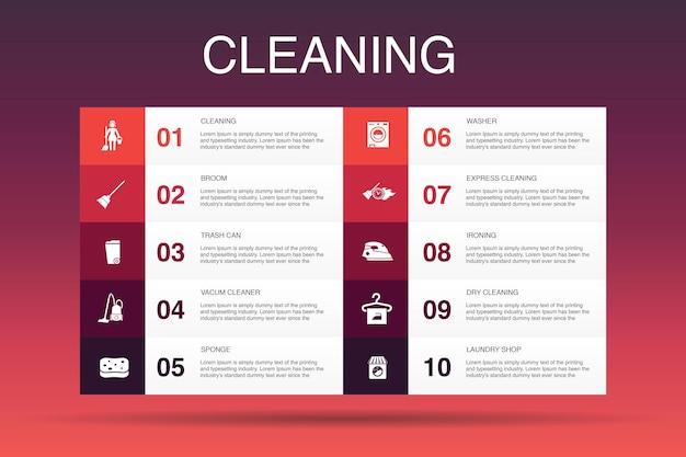 インフォグラフィック10オプションテンプレートのクリーニング。ほうき、ゴミ箱、スポンジ、ドライクリーニングの簡単なアイコン