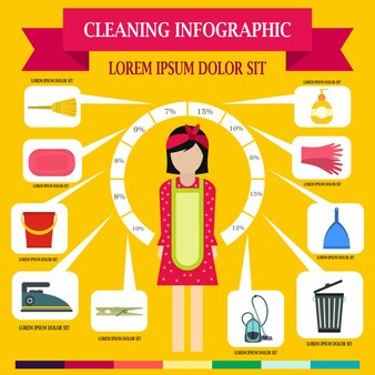 Cleaning infographic in flat style for any design
