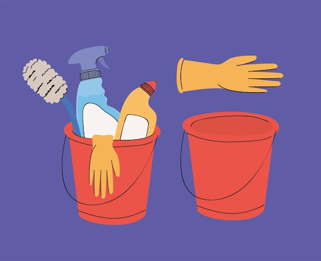 Cleaning items with buckets