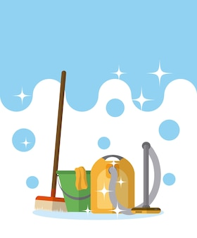 Cleaning kit and products vector illustration graphic design
