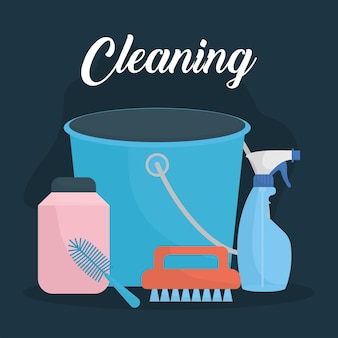 Cleaning lettering and set of household icons