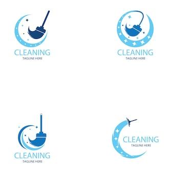 クリーニングロゴとシンボルイラストベクトルテンプレート