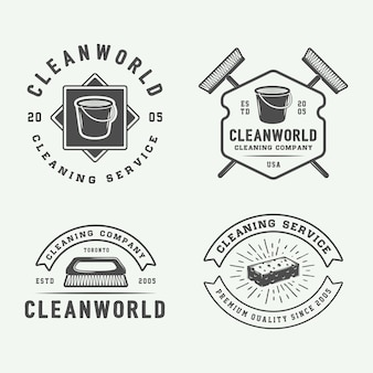 Cleaning logo badges set