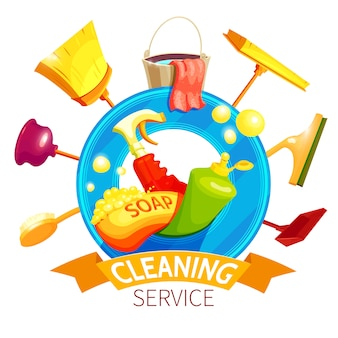 Cleaning logo business composition