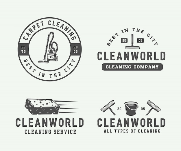 Cleaning logo set