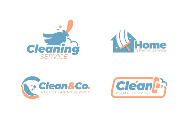 Cleaning logo style collection