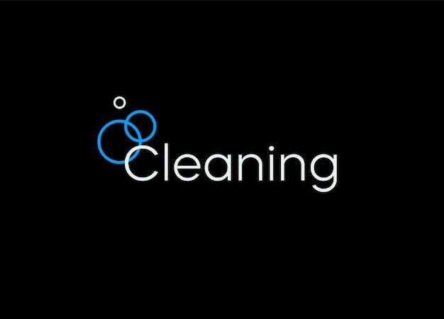 クリーニングロゴテンプレートバブルライン最小限のベクトルロゴデザインコンセプトクリーナーサービス石鹸
