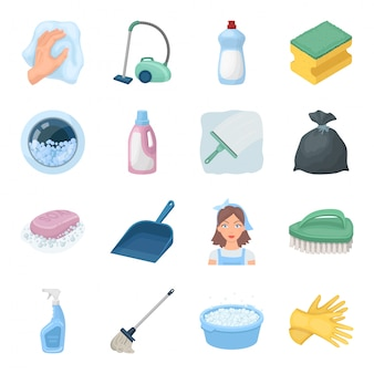 Cleaning and maid  cartoon set icon. cleaner service isolated cartoon set icon. illustration cleaning and maid  .