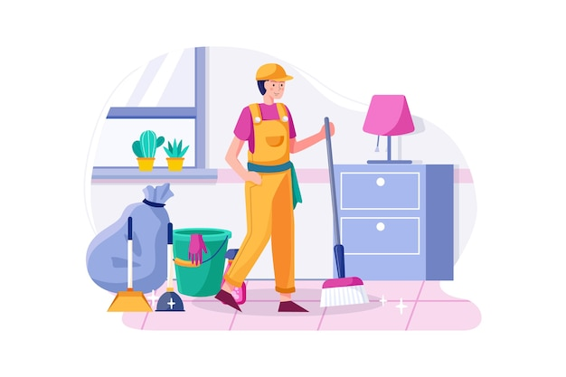 Cleaning man holding broom satisfied with clean house