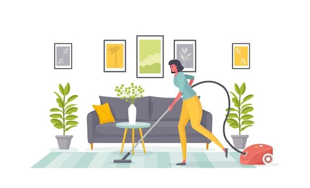 アパートのメイドの掃除は、リビングルームのイラストのカーペットを掃除機で掃除します