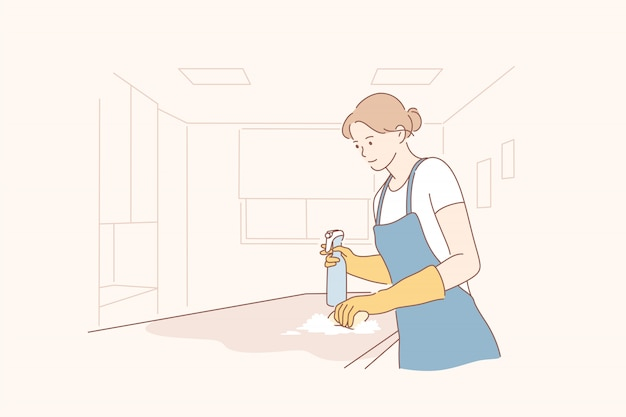 Cleaning in office concept