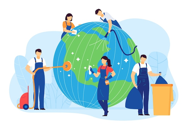 Cleaning planet people vector illustration. cartoon flat volunteer cleaner characters clean, care globe earth, collect plastic waste. world ecology, environment