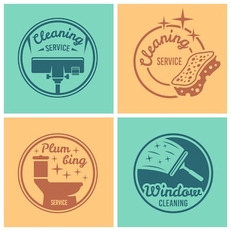 Cleaning and plumbing service set of four round badges, labels or emblems