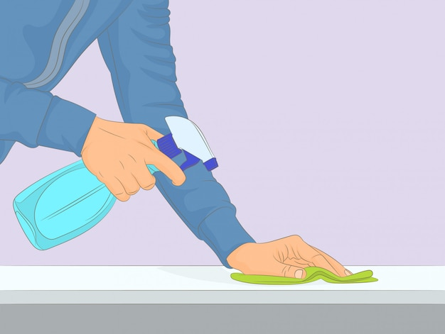 Cleaning and polishing with a spray detergent