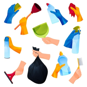 Cleaning products or cleaners, hands icons set