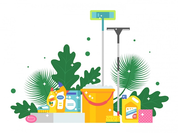 Cleaning products and fresh green leaves,  illustration. flat style background with bucket, mop, soap and sponge. sparkling clean, shiny housekeeping supplies
