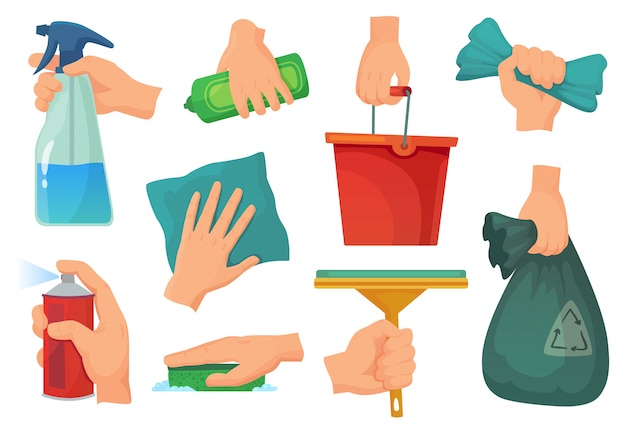 Cleaning products in hands. hand hold detergent, housework supplies and cleanup rag cartoon illustration set