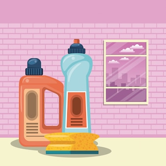 Cleaning products for home cartoons