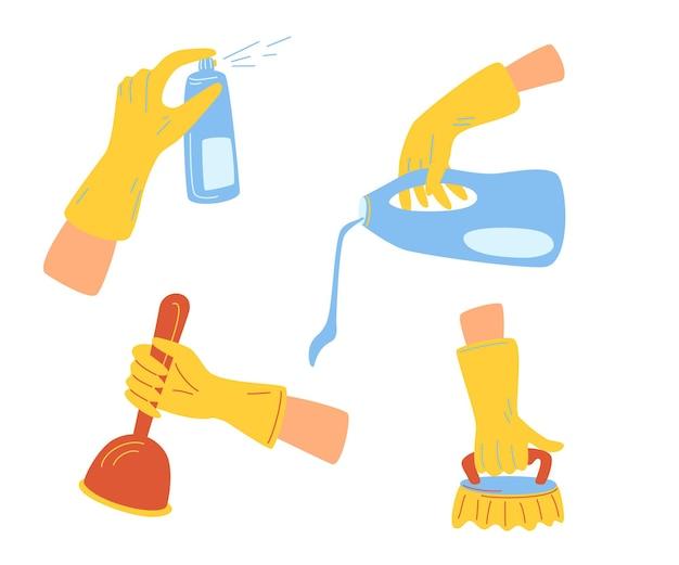 手で製品を洗浄します。掃除のためのさまざまな道具を持っている手。キッチンの掃除、家の洗浄消毒装置。漫画のベクトル図分離アイコンを設定します。