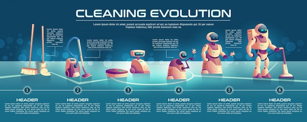 Cleaning robots evolution cartoon concept