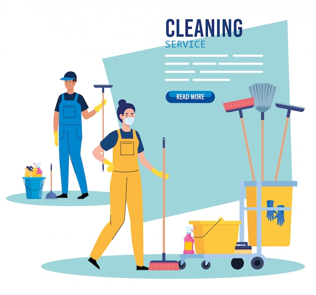 Cleaning service banner, couple workers with cleaning trolley with equipment icons illustration design