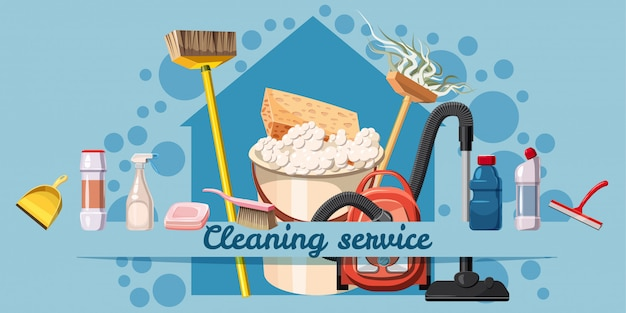 Cleaning service banner horizontal, cartoon style