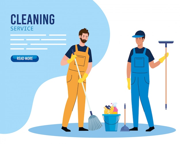Cleaning service banner, men workers of cleaning service with equipments illustration design