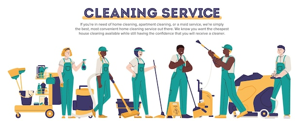 평면 스타일의 제복을 입은 청소기로 청소 서비스 배너