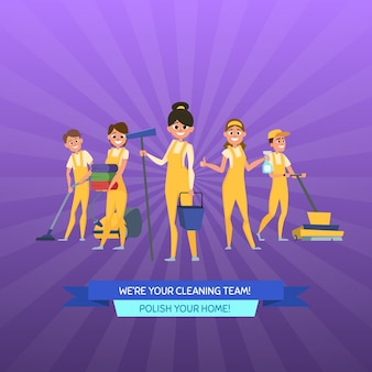 Cleaning service cartoon men and women with cleaning equipment on sunrays background