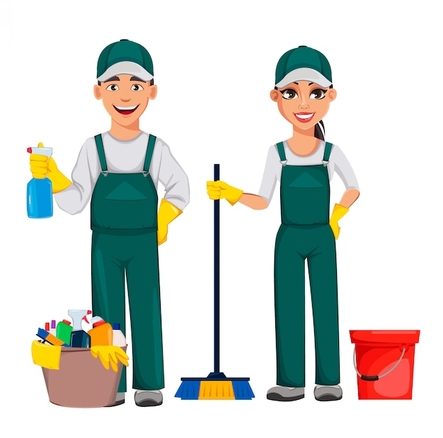 Cleaning service, cheerful cartoon character
