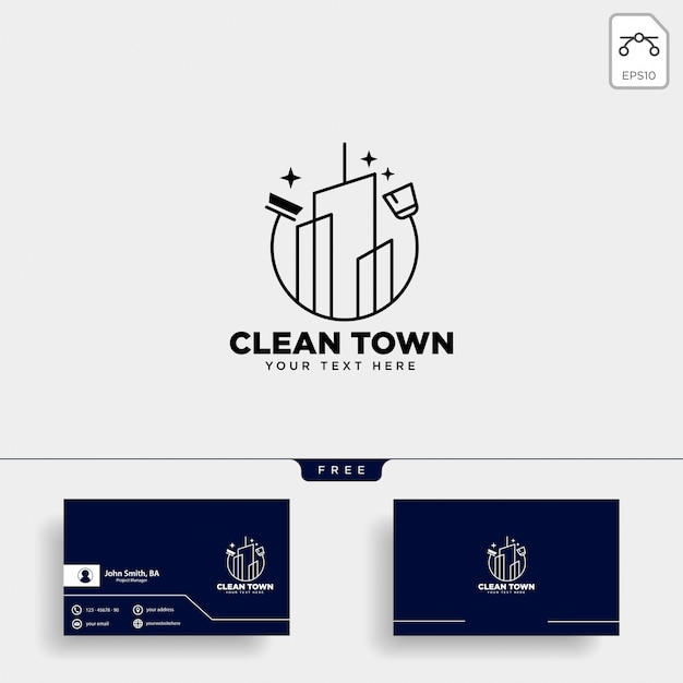 Cleaning service city logo